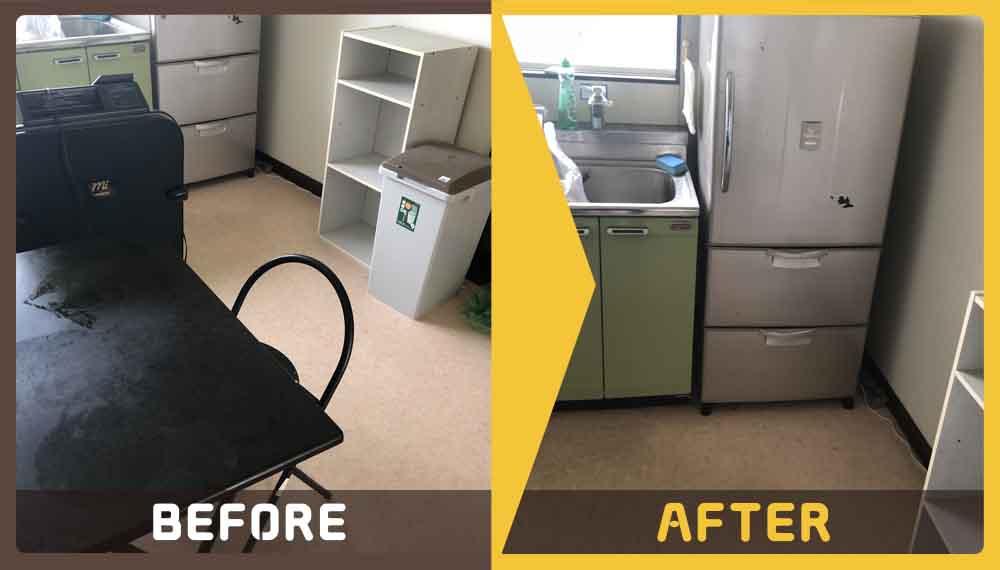 家具・家電(冷蔵庫、扇風機、メタルラック、テーブル、椅子、ゴミ箱、カラーボックス等)の処理にお困りのお客様からご依頼いただきました。
